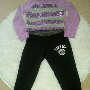 Justice pants and sweatshirt size 6.